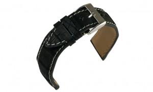 Nubuck alligator zwart leren horlogeband