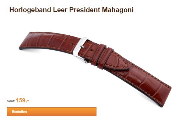 Horlogeband Leer President Mahagoni